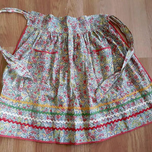 Vintage Feedsack Childs Half Apron Colorful red